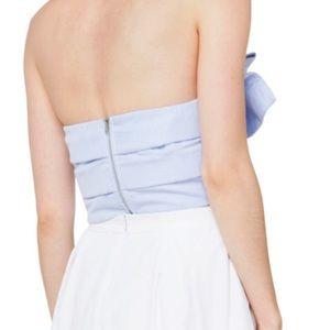 AKIRA Tops - NWT Akira Blue Striped Bow Down Strapless Crop Top